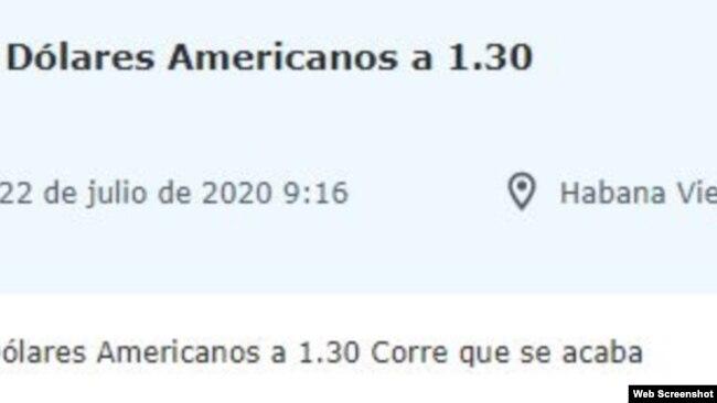 """""""Corre que se acaba"""", dice en un clasificado alguien que ofrece 29.000 pesos cubanos por mil dólares estadounidenses."""