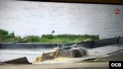 Segunda tripulación cubana pasando obstáculo acuático antes de detener la marcha en Juegos Militares 2019