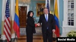 Ministra de Relaciones Exteriores de Colombia, Claudia Blum, se reune con el Secretario de Estado.