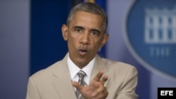 El presidente de EE.UU., Barack Obama, ofrece una declaración en la sala de prensa de la Casa Blanca, hoy jueves 28 de agosto de 2014, en Washington DC.