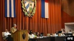 Raúl Castro, pronuncia un discurso hoy, viernes 8 de julio de 2016, en La Habana (Cuba), como clausura del primer pleno del año de la Asamblea Nacional de Cuba (Parlamento unicameral), donde se analiza la marcha de la economía en el primer semestre de 20