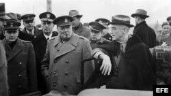 Churchill y Roosevelt en la Conferencia de Yalta: Científicos del University College en Londres han descubierto un gen relacionado con la capacidad de liderazgo de una persona.