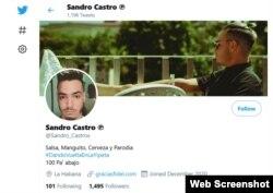 Sandro Castro dijo que esta cuenta de Twitter, que aparece a su nombre, es falsa. (Captura de imagen/Twitter)