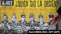 """Miles de ejecuciones extrajudiciales conocidas como """"falsos positivos"""" se llevaron a cabo en el mayor escándalo de las fuerzas militares colombianas en su lucha de más de medio siglo contra los grupos rebeldes. Bogotá, el 16 de marzo de 2021. Foto: Raúl ARBOLEDA / AFP."""