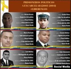 Seis miembros de la policía venezolana, incluido el Comisario Iván Simonovis, guardan prisión política desde 2003 y 2004.