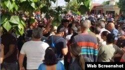 Protesta en Santa Clara. (Captura de imagen/CubaNet)