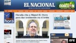 Portada digital del diario El Nacional de Venezuela