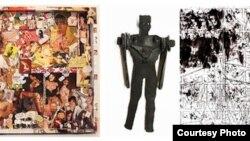 """Obras de arte """"outsider"""" de la estadounidense Candice Avery, el cubano Daldo Marte y el español Ramón Losa."""