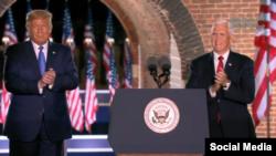 Trump y Pence en el Fuerte McHenry, el 26 de agosto de 2020.