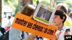 Manifestación frente a embajada iraní en Francia.