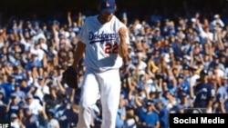 """""""Yessss!"""": Clayton Kershaw, de los Dodgers de Los Angeles, satisfecho por una buena labor."""