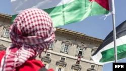 Un hombre ondea la bandera palestina mientras escucha al Papa en la plaza San Pedro.