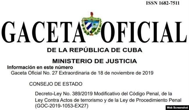 La Gaceta Oficial de Cuba con el texto del Decreto 389-2019.