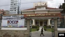 Una vista del Tribunal Supremo Electoral (TSE) de Bolivia, en La Paz.