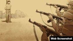 Dibujo de un artista de una ejecución pública por un pelotón de fusilamiento en Corea del Norte.