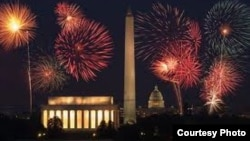 Perspectiva de los fuegos artificiales del 4 de julio en Washington D.C.