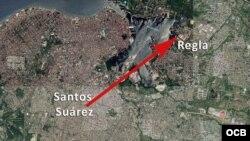 Mapa del recorrido del tornado por La Habana.