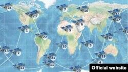 Gráfica de la posición satelital del sistema GLONASS. Tomado de https://www.glonass-iac.ru/en/