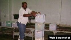 Un obrero llena cajas con bolsas de yogurt de soya. Cuba.
