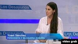 """Yoani Sánchez fue entrevistada por el programa """"La 1"""" de la Televisión Española (TVE)."""