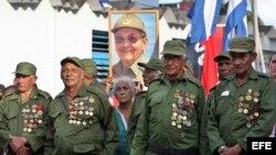 Veteranos de las Fuerzas Armadas en un acto en La Habana, Cuba