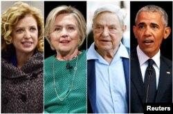 Combinación de fotografías de izq. a der. Debbie Wasserman Schultz, Hillary Clinton, George Soros y Barack Obama.
