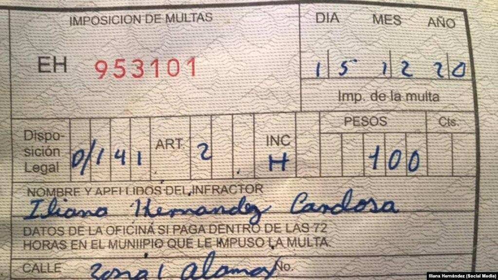 La multa de 100 pesos a la periodista independiente, Iliana Hernández, el 15 de diciembre de 2020.