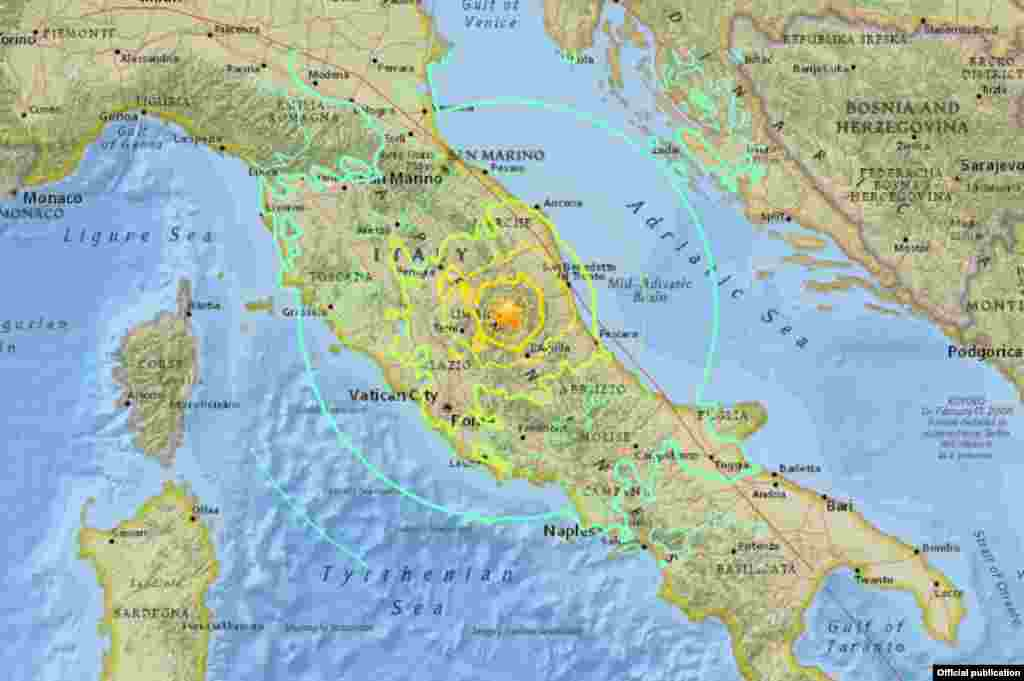 El epicentro del terremoto de 6,2 grados que azotó el centro de Italia fue localizado cerca de Accumoli a solo 4 kilómetros de profundidad.