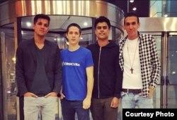 De izq a der, Robin Pedraja, Luis Manuel Mazorra, Hiram Centelles y Elio Héctor López. Foto tomada del Facebook de Luis Manuel Mazorra.
