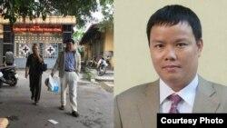El bloguero encarcelado Le Anh Hung se muestra a la derecha, con familiares visitantes a la izquierda.