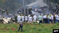 Avión de Cubana que cayó en La Habana.