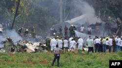 Escena del accidente aéreo del 18 de mayo de 2018 en La Habana.