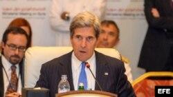 El secretario de Estado de EEUU, John Kerry, habla en Doha, Qatar, hoy 22 de Junio de 2013