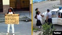 Arrestada líder de las Damas de Blanco, Berta Soler, al salir de la sede nacional del grupo opositor en Lawton, La Habana. (Fotos: Angel Moya)