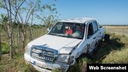 Camioneta de Empresa Pecuaria en el accidente Camagüey.