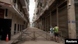 Un barrio de La Habana cerrado por brote de coronavirus. REUTERS/Alexandre Meneghini