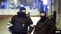 Antidisturbios en los accesos a la calle donde efectuaban una operación antiterrorista en Verviers, Lieja, Bélgica (15 de enero, 2015).