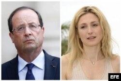Combo de fotografías del presidente francés, François Hollande (i), en París (Francia) el 18 de agosto de 2013, y de la actriz francesa Julie Gayet, en el Festival Internacional de Cine de Cannes (Francia), el 18 de mayo de 2011.