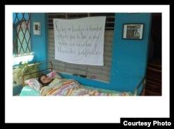 Arianna López en huelga de hambre en su casa en Placetas
