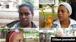 Las opositoras en prisión: Xiomara de las Mercedes Cruz Miranda, Yunet Cairo Reigada, Jackeline Heredia Morales y Marieta Martínez Aguilera.
