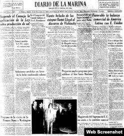 Edición del Diario de la Marina correspondiente al 14 de noviembre de 1953, cinco meses después del asalto al cuartel Moncada.