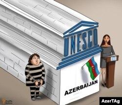 La Unesco y dos damas de Azerbaiyan.