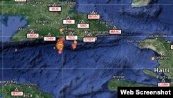 Mapa de eventos sísmicos del CENAIS en 7 días hasta el 23 de enero de 2016