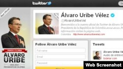 La cuenta de Uribe en Twitter.