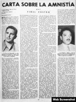 Desde su celda en el Presidio Modelo de Isla de Pinos, Fidel Castro remitió esta carta a Luis Conte Agüero y fue publicada íntegramente en la que entonces era la revista más influyente en Cuba.