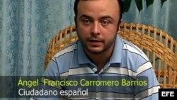 Imagen tomada de un vídeo y suministrada por el Gobierno cubano en La Habana (Cuba) hoy, lunes 30 de julio de 2012, en la que aparece el español Ángel Carromero, quien conducía el vehículo donde viajaba el fallecido opositor Oswaldo Payá.