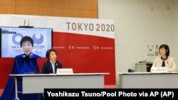 Poderoso terremoto de magnitud 7.2 en la escala de Ritcher durante la conferencia de prensa del Comité Olímpico de Japón. Foto: Yoshikazu Tsuno/Pool Photo via AP.