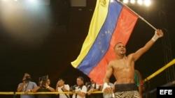 El púgil venezolano Carlos Campos, Peso Minimosca Fedecaribe de la Asociación Mundial de Boxeo (AMB).