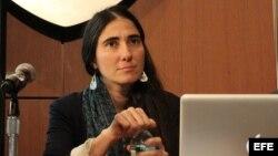 La bloguera cubana Yoani Sánchez en una conferencia de prensa en la Universidad de Nueva York (NYU).