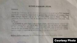 Copia del acta de ocupación hecha a Mario F. Lleonart